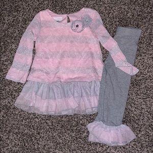 Bonnie Baby Girls Pink/Gray Matching Set SZ.24Mo.